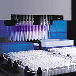 Ein Bild zur Illustrierung eines Bestandteils des Hochdurchsatz-Screening-Prozesses. Eine Maschine mit vielen Pipetten und Teströhrchen gestattet die simultane Prüfung einer großen Zahl potenziell nützlicher Moleküle.
