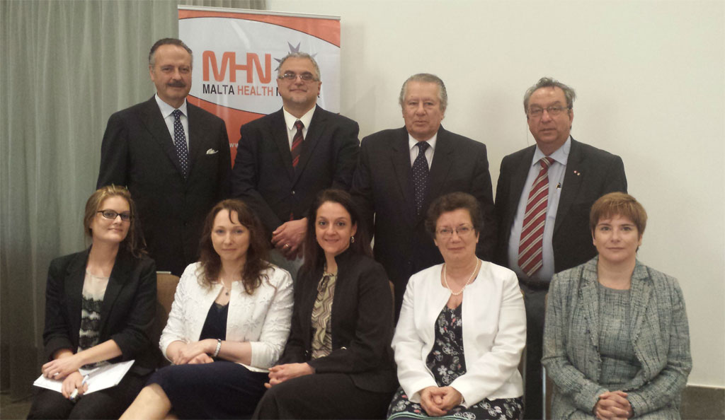 Members of the Maltese National Team after a meeting of national partners in Sliema on 30 April 2014.
