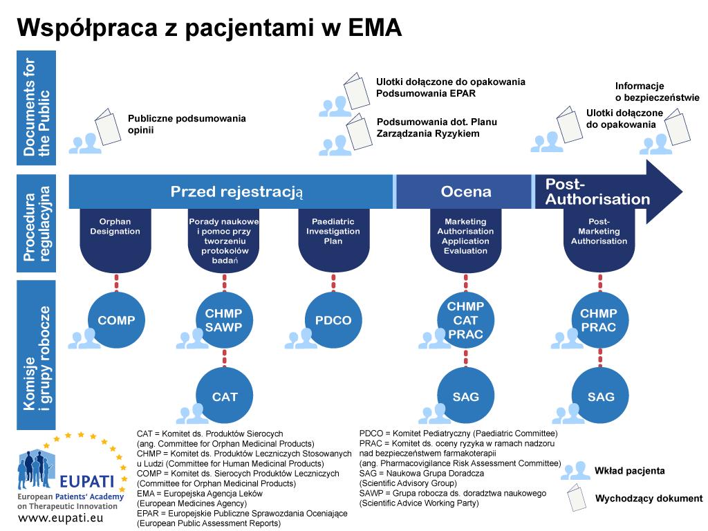 Pacjenci mogą brać udział w działaniach EMA w trakcie procedury rejestracyjnej w różny sposób.