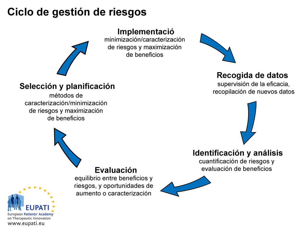 El ciclo de gestión de riesgos consta de cinco pasos.