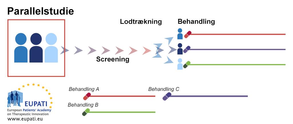 Et diagram, der viser parallelgruppe-forsøgsdesignet. Efter en screening bliver patienterne randomiseret i adskilte behandlingsgrupper. De bliver ved med at være i disse behandlingsarme gennem hele forsøget og under de opfølgende aktiviteter.